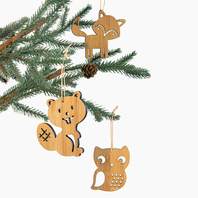 Fox, Beaver, Owl Forest Animal Christmas Ornaments - Brown
