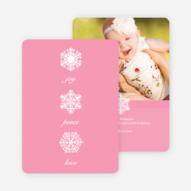Unique Snowflake Holiday Cards - Pink