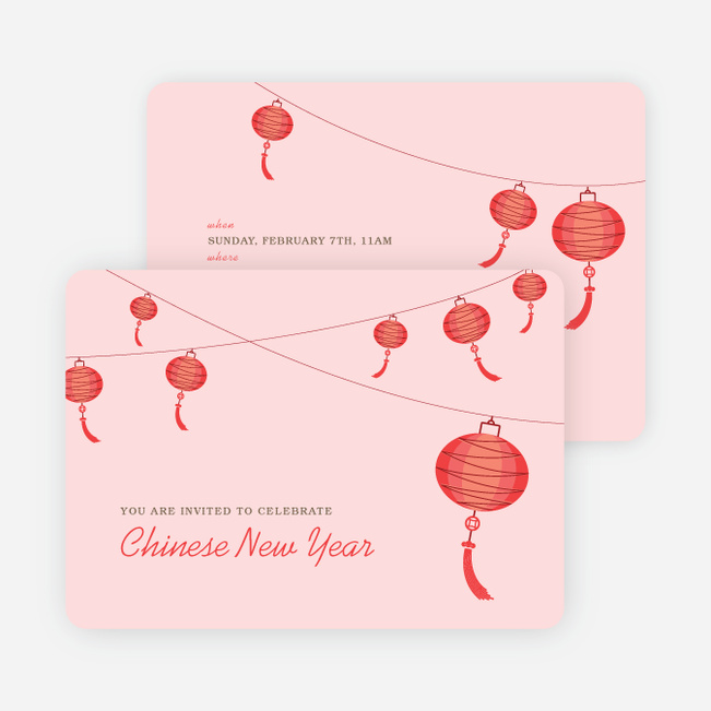 Raise the Red Lantern Chinese New Year Invitations - Pink