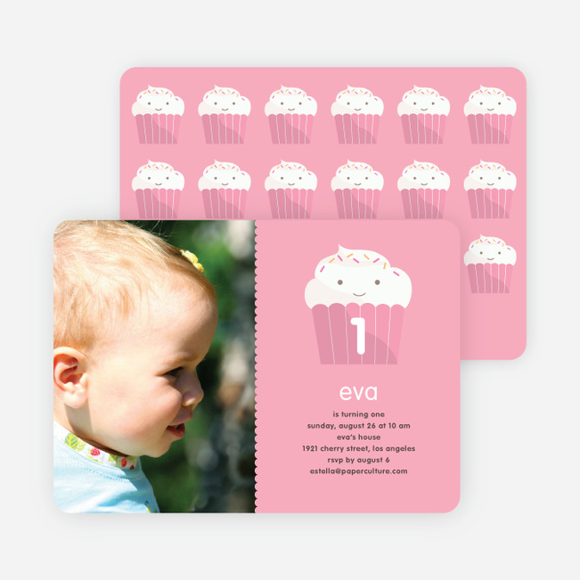 Cupcake Birthday Party Photo Invitation - Bubble Gum Pink