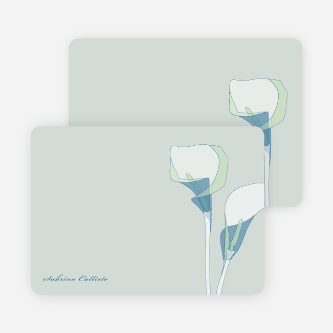 Elegant Flowers Personal Stationery - Calla Lily Blue