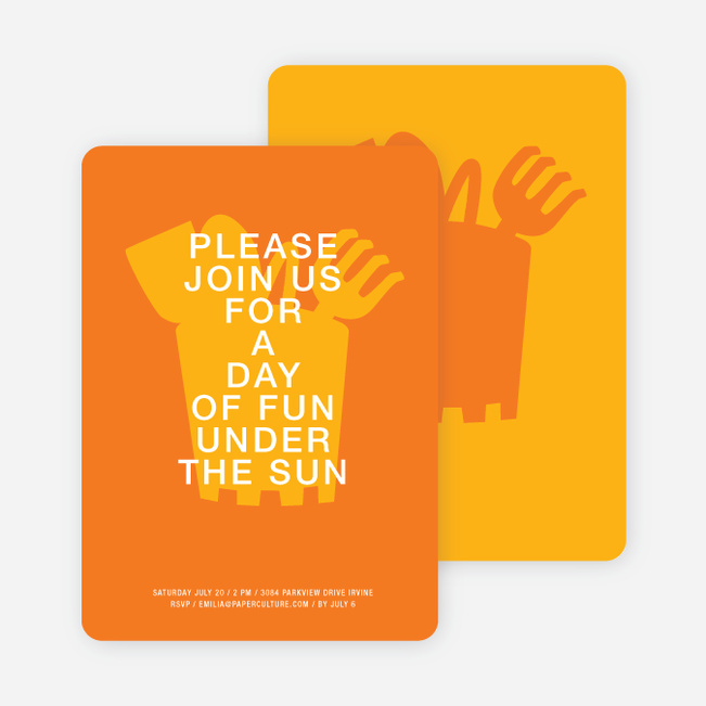 Fun in the Sun invitations - Orange Sherbert