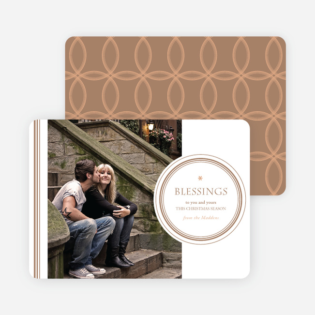 Holiday Blessings Christmas Photo Cards - Beige