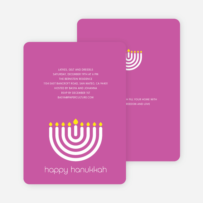 Menorah Happy Hanukkah Card - Fuchsia
