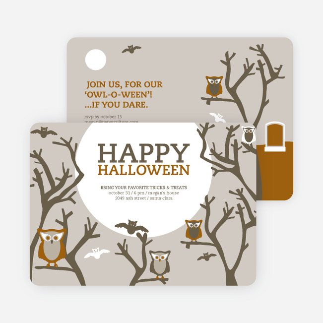Owl and Graveyard Halloween Party Invitations - Brown