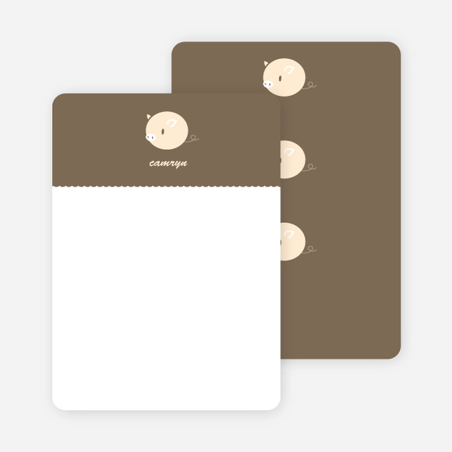 Personal Stationery for Darn Cute Piggy Baby Announcement - Russet