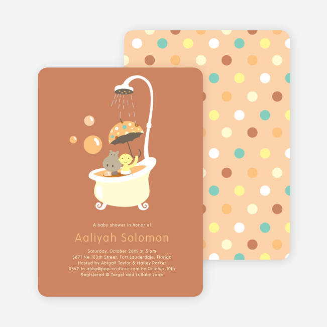 Rub a dub dub, a Hippo in the Tub Baby Shower Invitations - Cinnamon