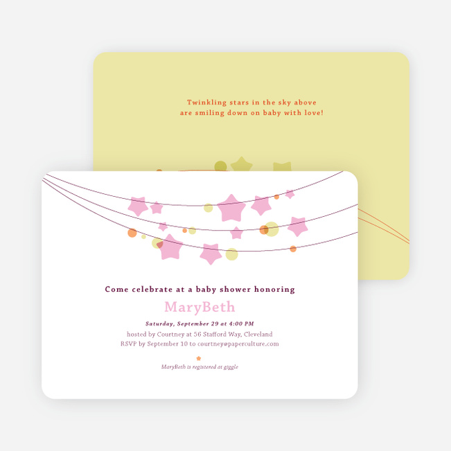 Star Crossed Baby Shower Invitations - Pink