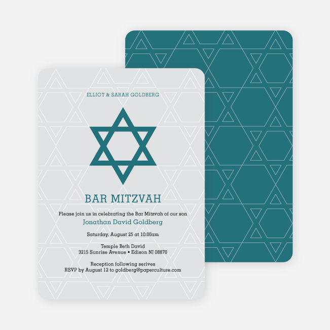 Star of David Bar and Bat Mitzvah Invitations - Blue