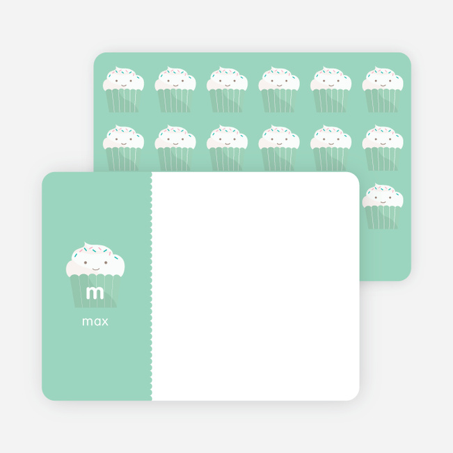 Stationery: 'Cupcake Birthday Invitation' cards. - Bamboo Green