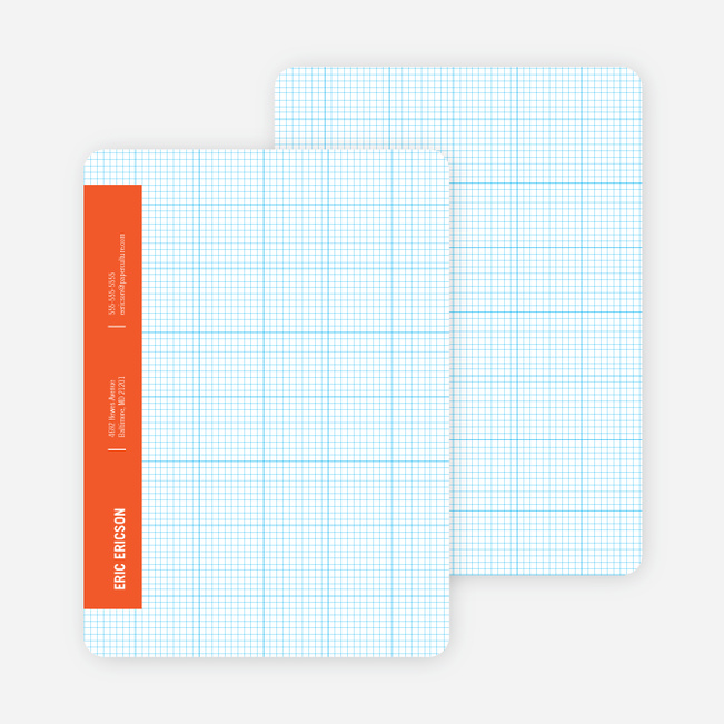 Stationery Grid Modern Note Cards - Office Orange
