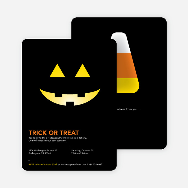Trick or Treat Pumpkin Face Halloween Invitations - Yellow