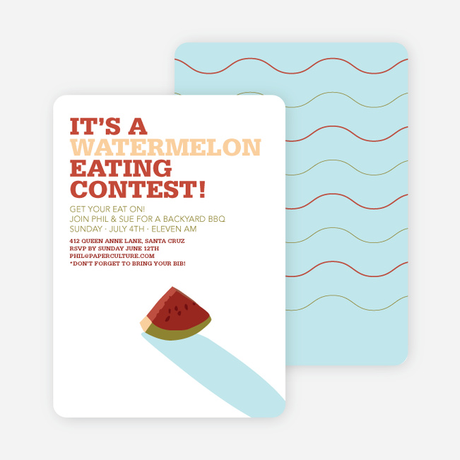 Watermelon Eating Contest Summer Party Invitations – Summer Party Invite