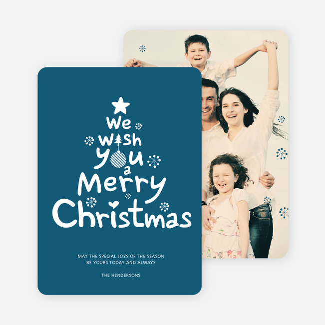 We Wish You a Merry Christmas Card - Blue