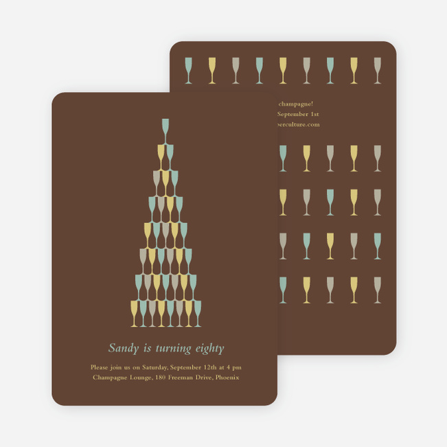 Wine Glasses and Champagne Bottles Party Invitations - Chocolate Syrup