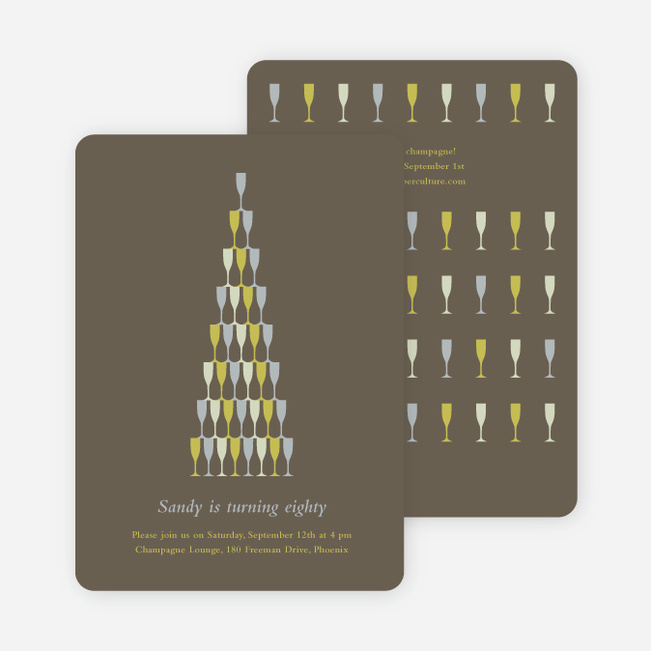 Wine Glasses and Champagne Bottles Party Invitations - Hot Coco