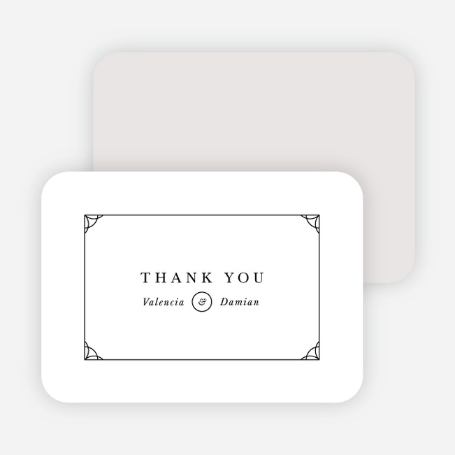 Black and White Chic Wedding Thank You Cards - Black