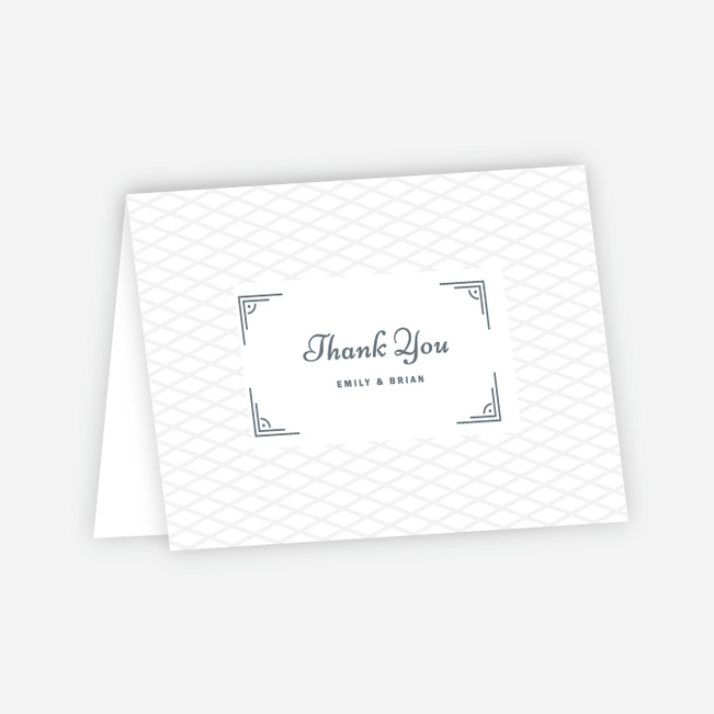 Cross Hatch Wedding Thank You Cards - Gray