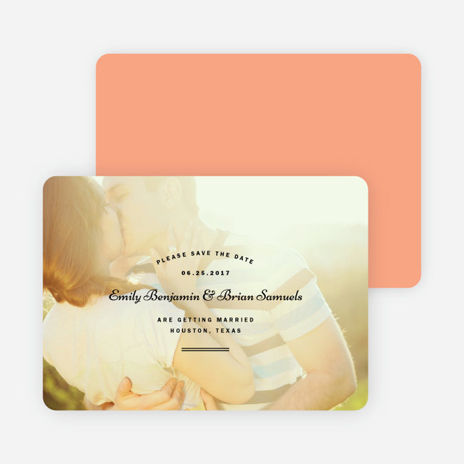 Cross Hatch Wedding Save the Date Cards - Orange