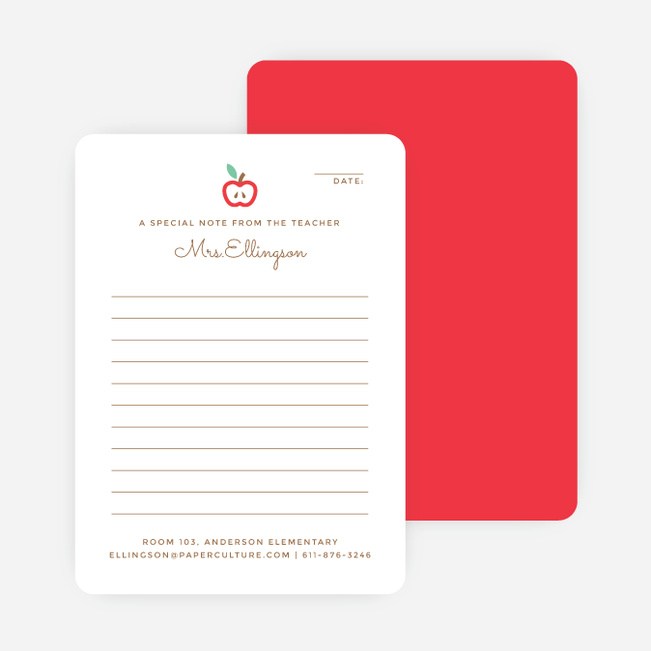 Apple for the Teacher Notecards - Red
