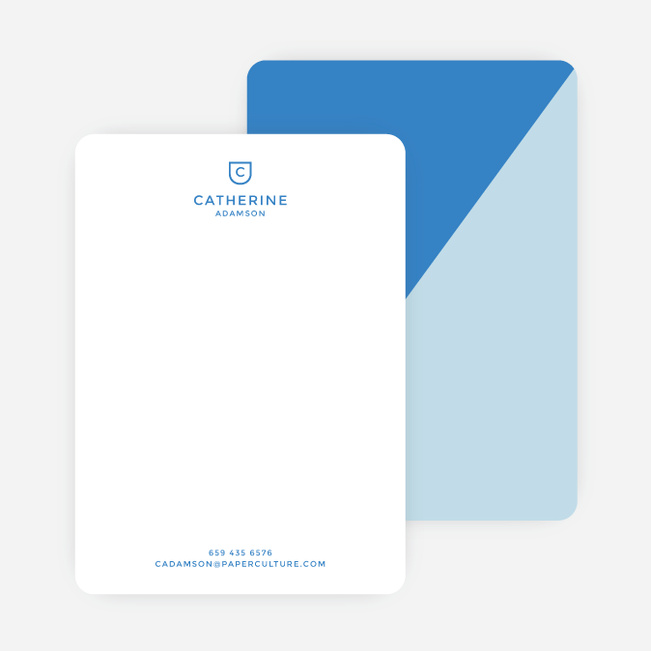 Diagonal Split Custom Stationery - Blue