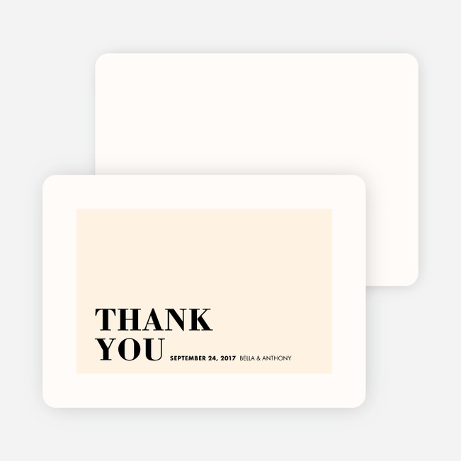 Boldly Typographic Wedding Thank You Cards - Beige