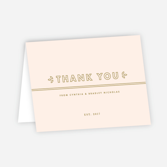 Line Up, Be Counted Wedding Thank You Cards - Pink