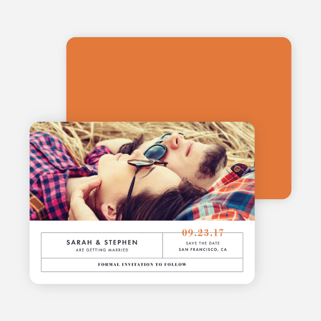 Modern and Classic Wedding Save the Date Cards - Orange