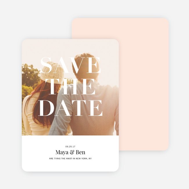 Simple & Chic Wedding Save the Date Cards - Pink