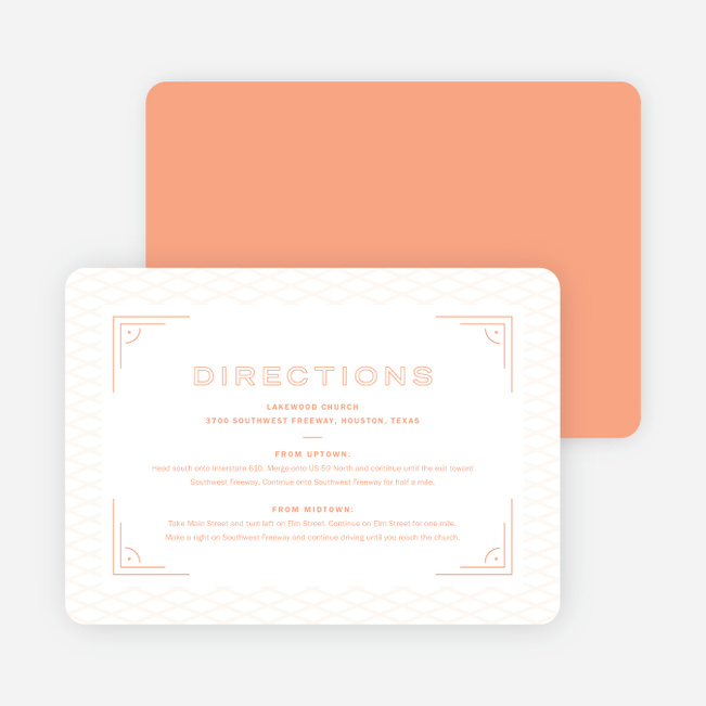 Crossing Paths Wedding Information Cards - Orange