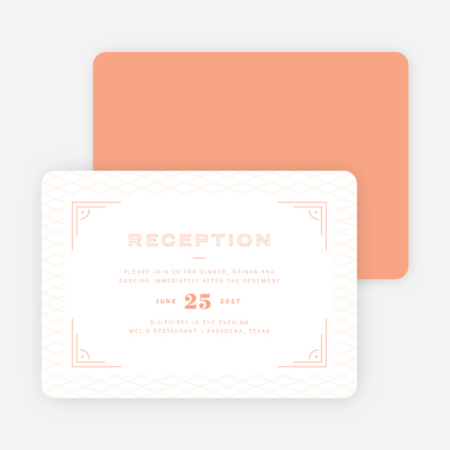 Crossing Paths Wedding Reception Cards - Orange
