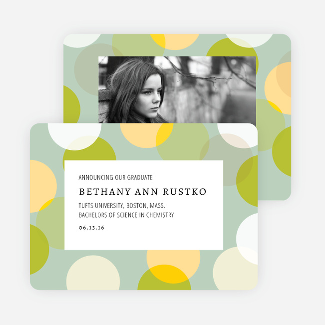 Overlapping Polka Dots Graduation Announcements - Green