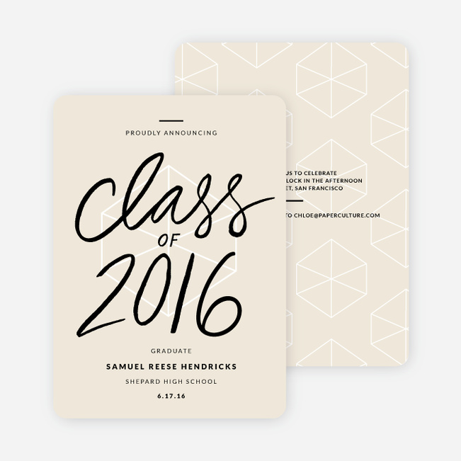 Proudly Announcing Graduation Cards - Beige