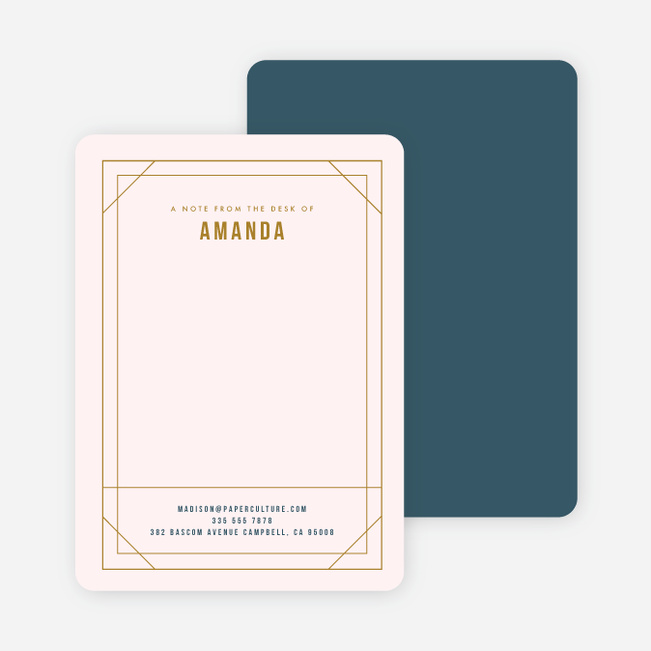 Modern Retro Frame Stationery - Blue