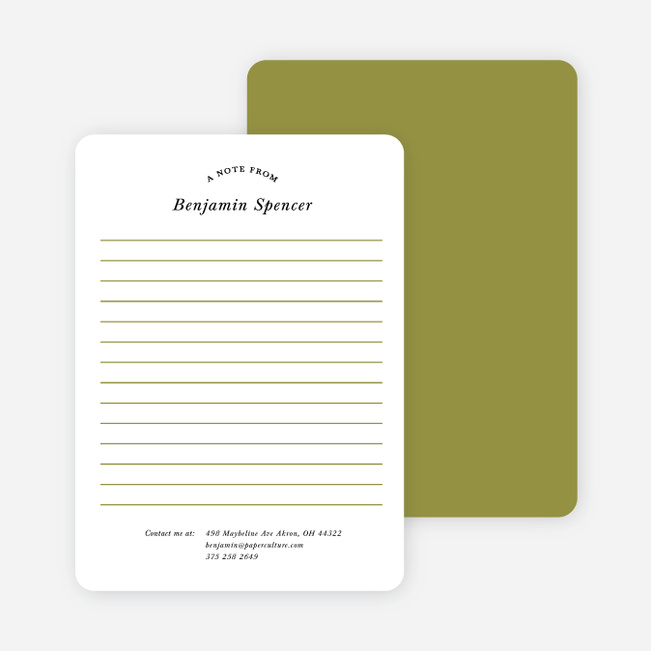 Retro Lined Message Note Cards - Green