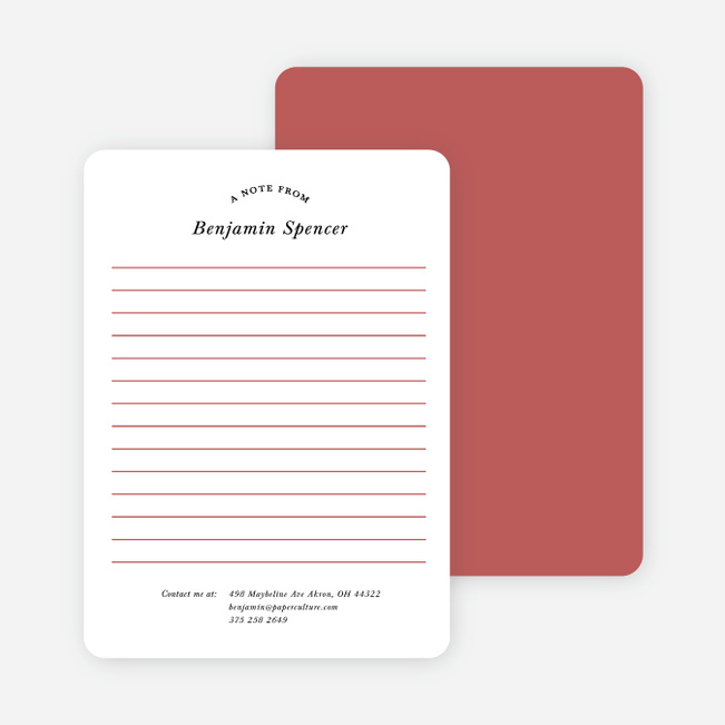 Retro Lined Message Note Cards - Red