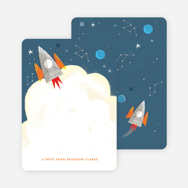 Space, Rocket ship Kids Stationery - Blue