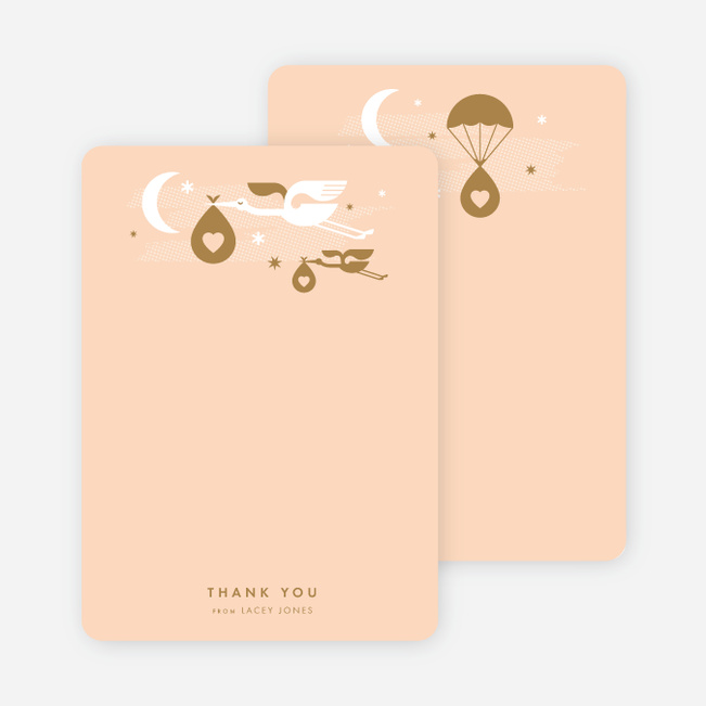 Stork Delivery Baby Stationery - Orange