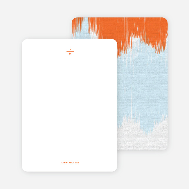 Bold Brushstrokes Personalized Stationery - Orange