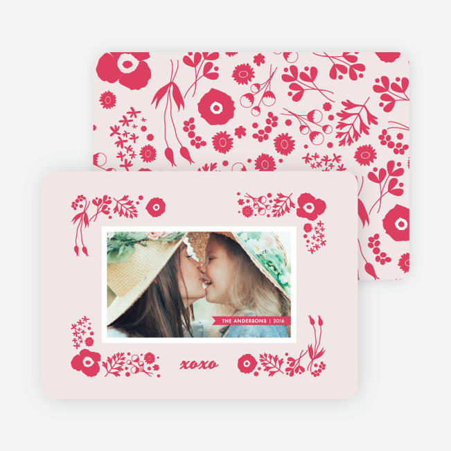 Floral Valentine's Day Cards - Red