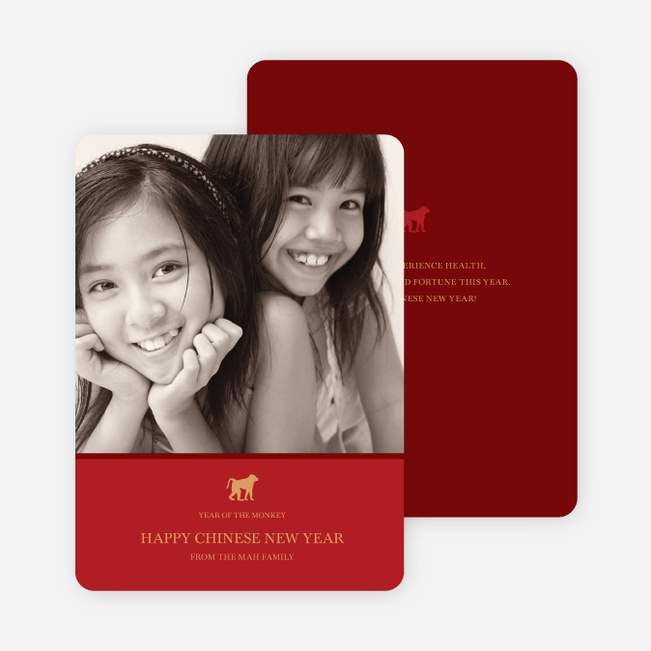 Happy Year of the Monkey Photo Card - Crimson