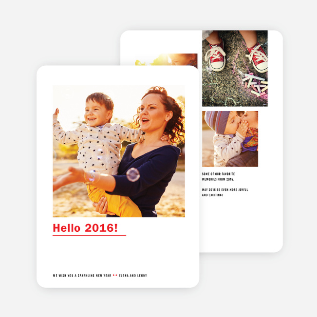 Hello New Year Cards - Red