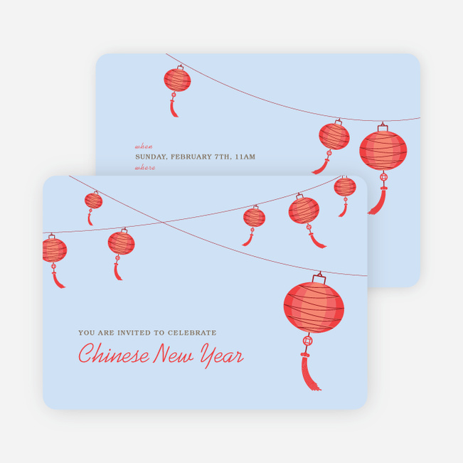 Raise the Red Lantern Chinese New Year Invitations - Red