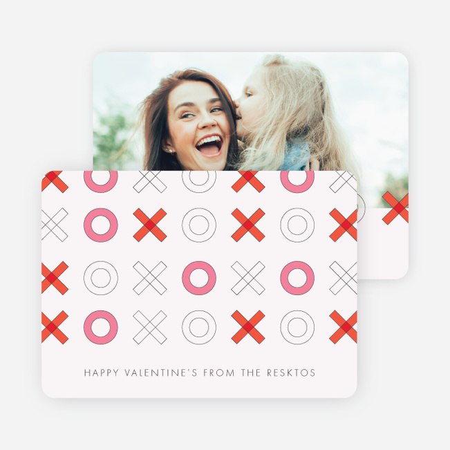 X's and O's Modern Valentine's Cards - Red