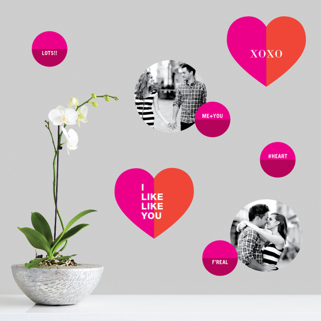 XOXO Hugs and Kisses Photo Wall Stickers - Pink