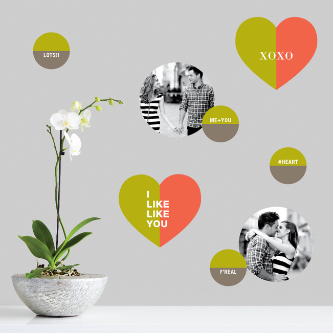 XOXO Hugs and Kisses Photo Wall Stickers - Green