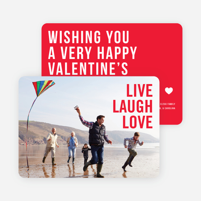 live laugh love valentines day cards red - Photo Valentine Cards
