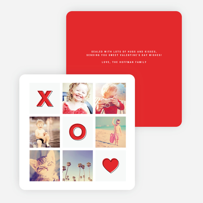 Tic Tac Toe Valentine's Day Cards - Red