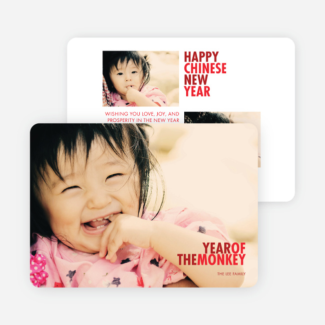 Year of the Monkey Lunar New Year Cards - Red