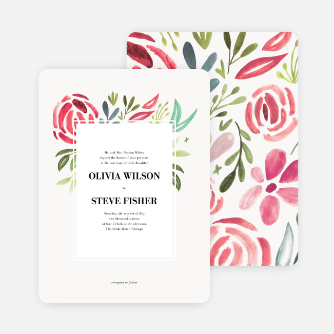 Strokes of Floral Wedding Invitations - Red